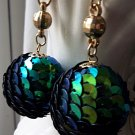 Vintage antique peacock sequined earrings