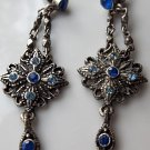 FREE SHIPPING USA/CAN  Vintage antique blue earrings