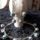 FREE SHIPPING USA/CAN  Artisan hand-made Asian feel beaded bracelet and earring set