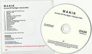 Manik - Armies of the Night -FULL PROMO- (CD 2011) Numbered / 24HR POST