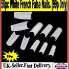 50PCS  WHITE FRENCH FALSE NAILS  ACRYLIC NAILART MAKEUP