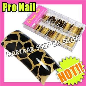 70 Pre designed leopard French Nail Tips false nails beauty FREE BOX AND GLUE