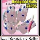 24PCS PRE DESIGNED HAND BEAUTY ACRYLIC Nail Art Glitter Star False Nails  +Glue.