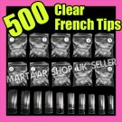 500 CLEAR FRENCH FALSE ACRYLIC NAIL ART TIPS GEL MAKEUP WITH FREE GLUE
