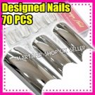 Sexy long nails chrome metallic french acrylic artificial false nail TIPS