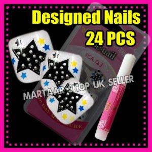 24 Foot Beauty Pre-Design French Toe False Nails Tips GLITTER STARS