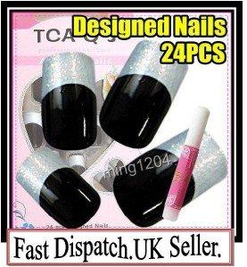 24pc Fancy Pre Designed hand beauty acrylic fake NailArt Glitter False Tips+Glue