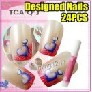 24PCS  PRE DESIGNED HAND BEAUTY ACRYLIC LOVE Nail Art  French False nails +Glue.