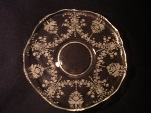 "Heisey Orchid on 10"" Queen Ann Demi Torte Serving Plate"