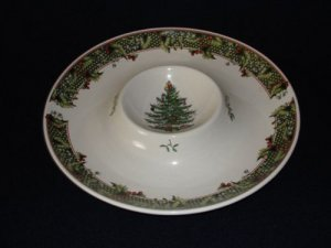 Spode Christmas Tree Chip and Dip with Holly Trim Serving Dish Tray Platter