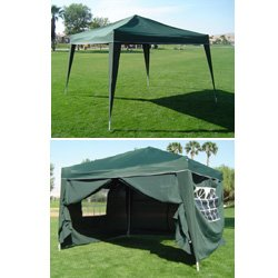 10 x 10 GREEN EZ Pop up Canopy w/4 sidwalls