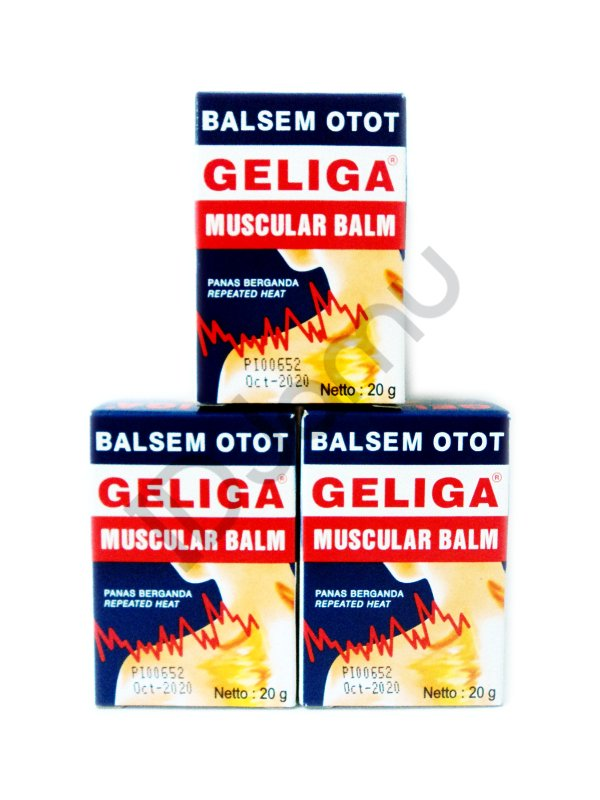 3 Pcs of 20g Geliga Muscular Balm Balsem Otot Muscle Pain Relief Repeated Heat