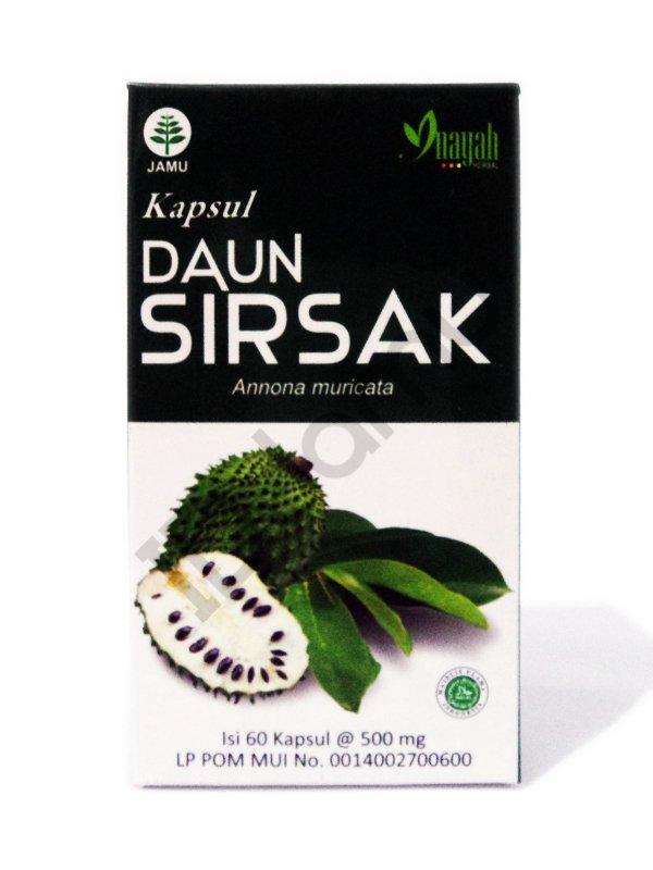 Graviola Soursop Annona Muricata 100% Herbs Daun Sirsak Inayah 60 Caps for Cancer