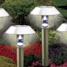 Stainless Steel Hut Solar Lights Set Of 4 Pcs