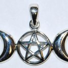Open-Faced Triple Moon Pentagram Pendant