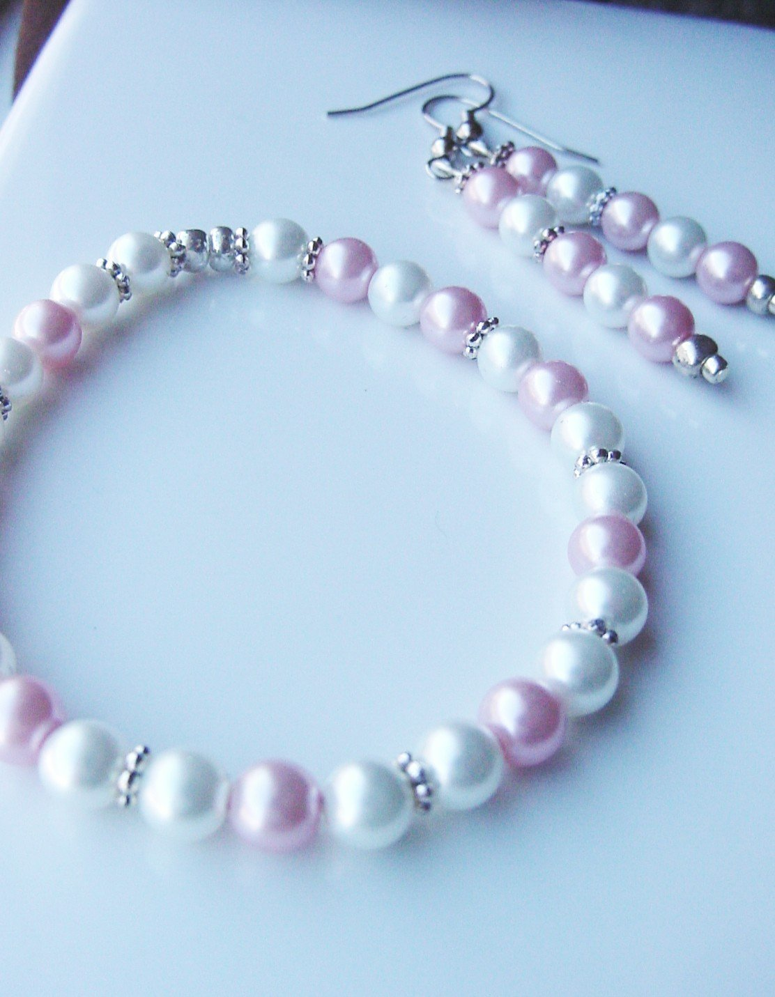Pink and White Pastel Bracelet & Earring Set