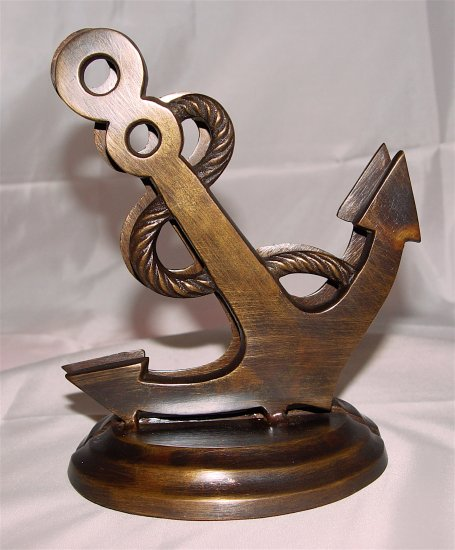 BOOKENDS - ANCHOR & ROPE - Brass