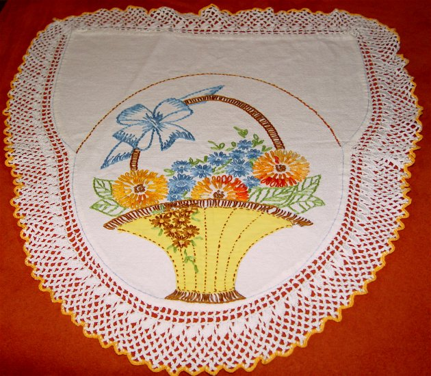 Embroidered Runners w/ Crochet Lace Edging - OLD