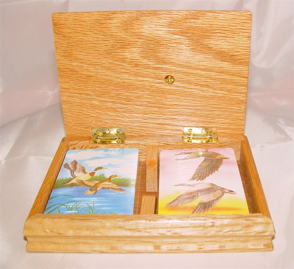 DUCK GOOSE Playing Cards Two Decks in Wooden Box-(NIB)