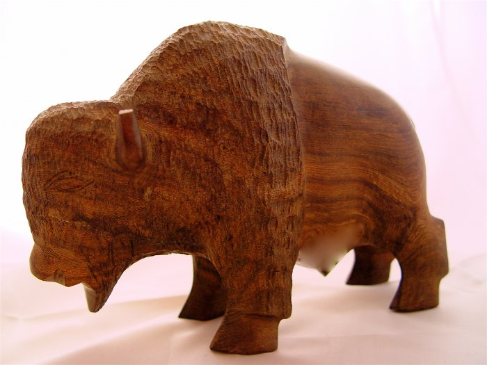 BISON - Heavy Iron Wood Sculpture - VINTAGE