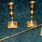 CANDLE STICK HOLDER (2 pcs) & SNUFFER - Brass- Vintage
