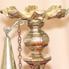 CANDLE STICK HOLDER & SNUFFER SET - Gilded Metal w/ Italian Marble Base - Vintage