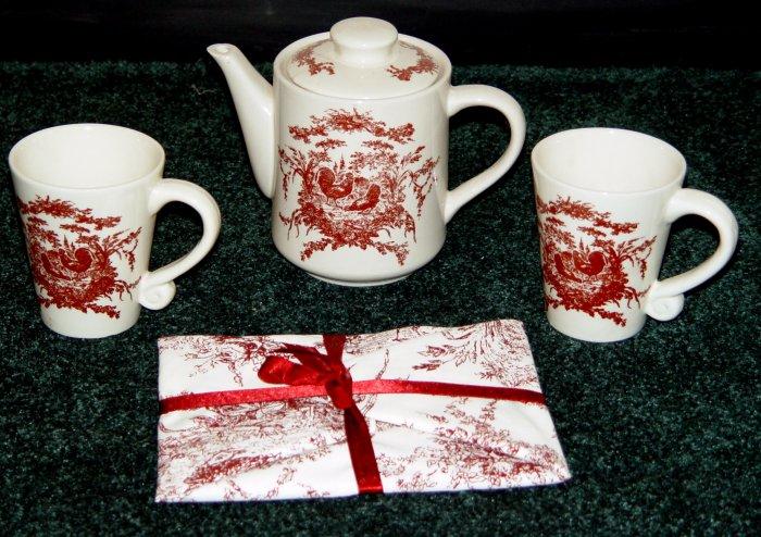 Teapot & Mug Set for 2 - CALIFORNIA PANTRY -3 pcs.