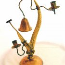 BRASS & REAL ANTLER CANDLE HOLDER W/ DINNER BELL- VINTAGE