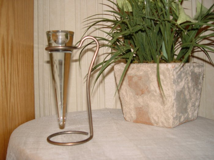 CANDLE STICK HOLDER w/ Brass Stand - Unique!