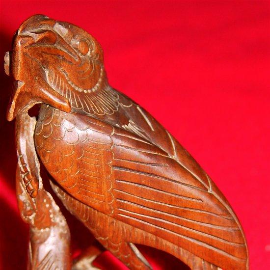 BIRDS - Feeding on  Flowers - Hand Carved Wooden Sculpture - Folk Art