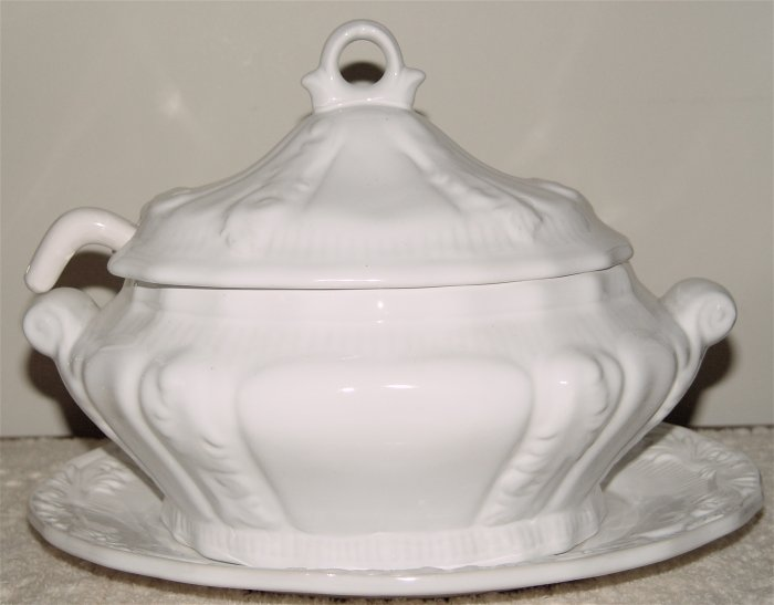 Soup Tureen w/ Footed Spoon & Platter - OLD