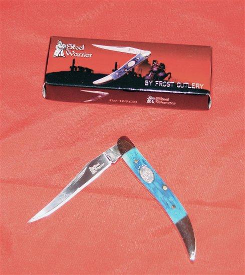BLUE POCKET KNIFE - STEEL WARRIOR TOOTHPICK CANCUN KNIFE (NIB)
