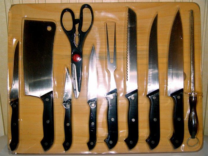 KNIFE SET CUTLERY 11 pcs w/ Cutting Board - NIB