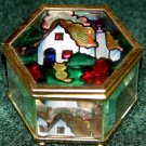 Trinket Box with Stained Glass Lid - Hexagonal