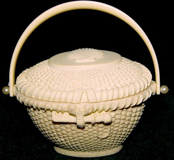 Trinket Box - Ceramic with Basket Weave Pattern