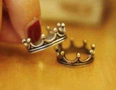 Cute Silver Korean style crown ring (pinky/little finger ring)