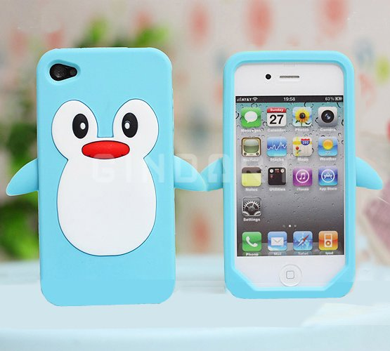 Cute Penguin Iphone4 Cover (pale blue)