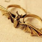 Double finger Bat Ring (gold colour)