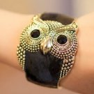 Retro Owl Bangle- black