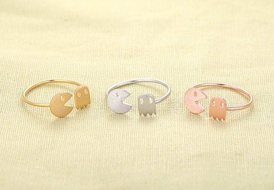 Retro pacman ring (adjustable)(silver colour)