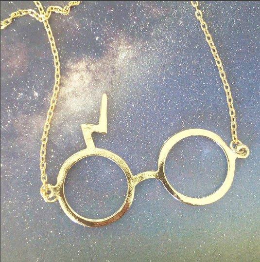 Harry Potter large pendant necklace (gold colour)