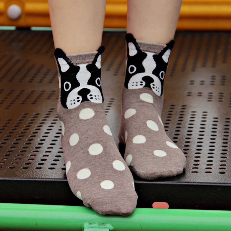 French Bulldog socks (UK women 3-7)