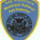 San Francisco California Railway Fare Inspector Police Patch