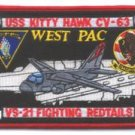 CH-63 USS KITTY HAWK VS-21 FIGHTING REDTAILS SQUADRON PATCH