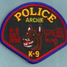 Archie Missouri Police K-9 Unit Patch