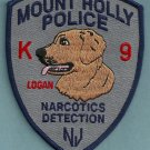 Mount Holly New Jersey Police Narcotics K-9 Unit Patch