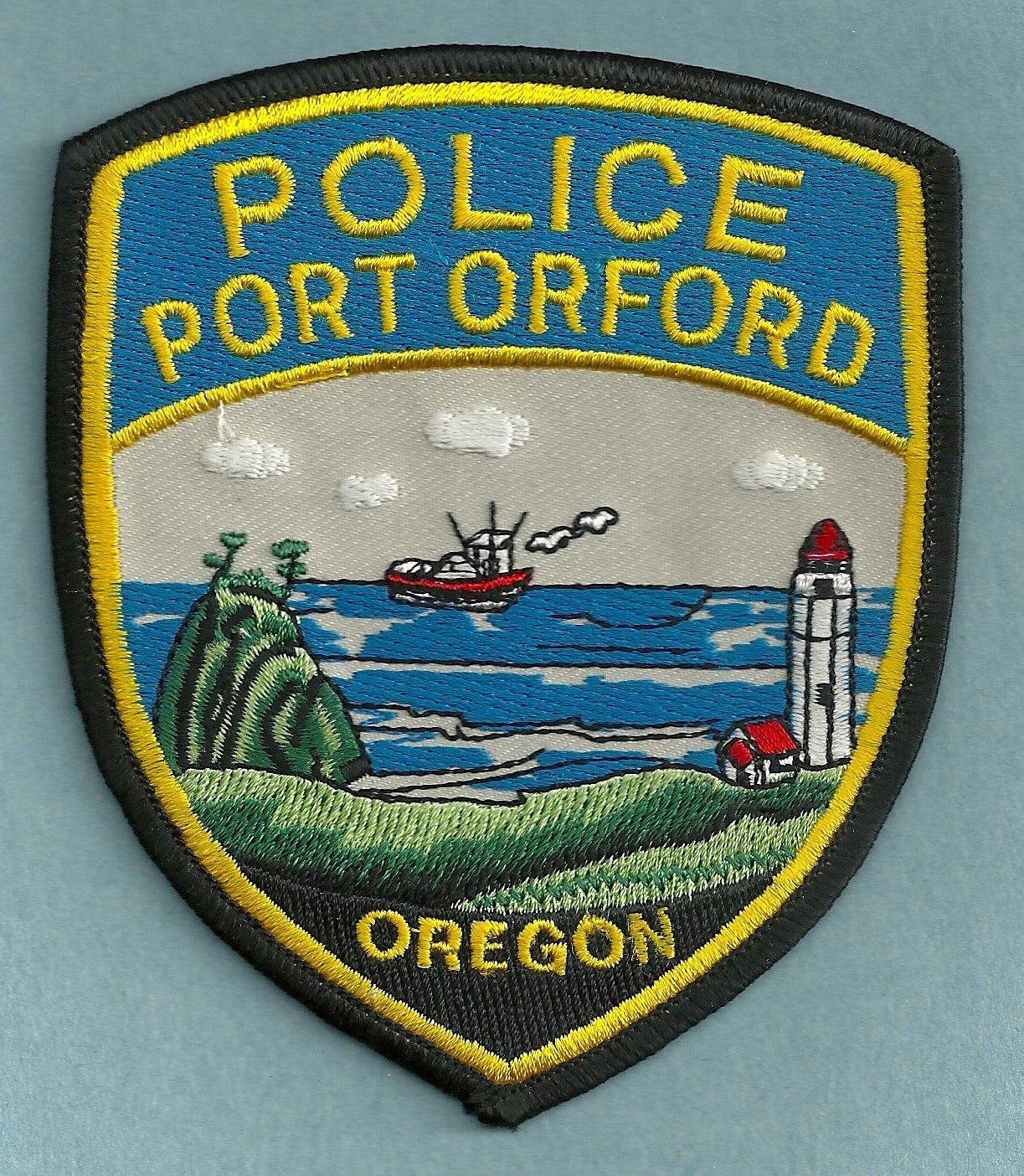 Port Orford Oregon Police Patch Lighthouse