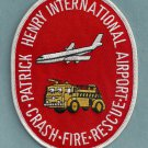 Patrick Henry International Airport Fire Rescue Patch ARFF
