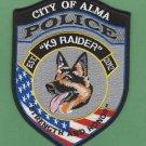 Alma Georgia Police K-9 Unit Patch