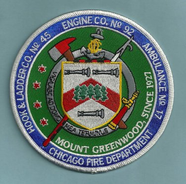 Chicago Fire Department Engine 92 Truck 45 Fire Company Patch
